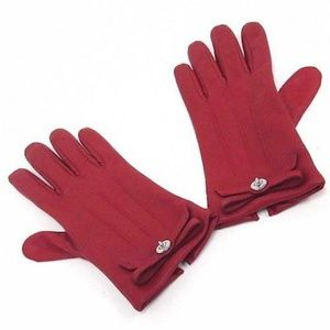 Coach Brand Red Leather Turnlock Bow Gloves Size 8